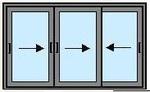 Раздвижна систем 1600Х3000 в одно стекло