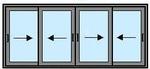 Четыре сдвижные створки 1600Х2600 в одно стекло
