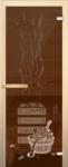 Дверь Банька, бронза с рисунком
